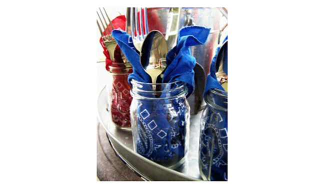 Mason Jar Fourth of July Utensil Holders